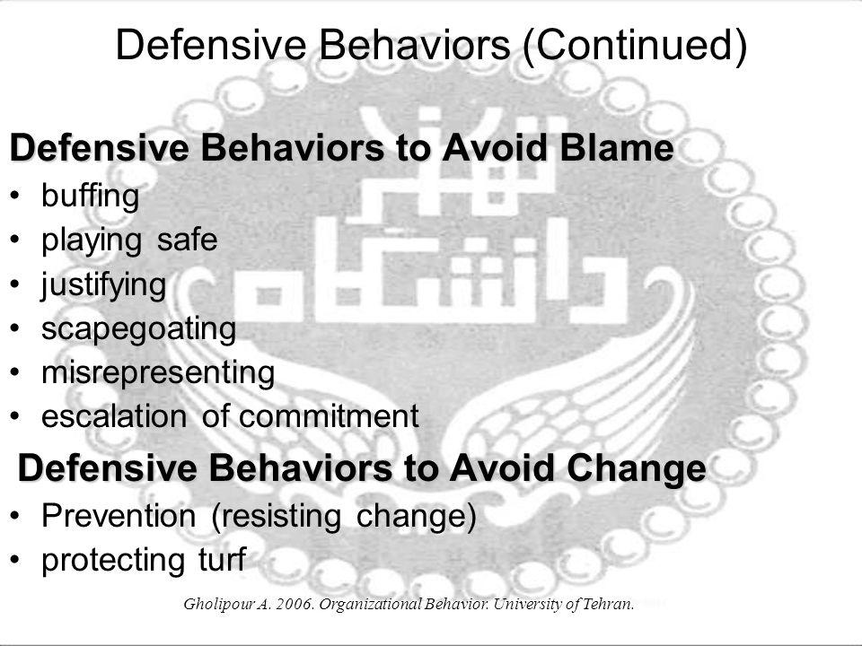 Defensive Behaviors (Continued)