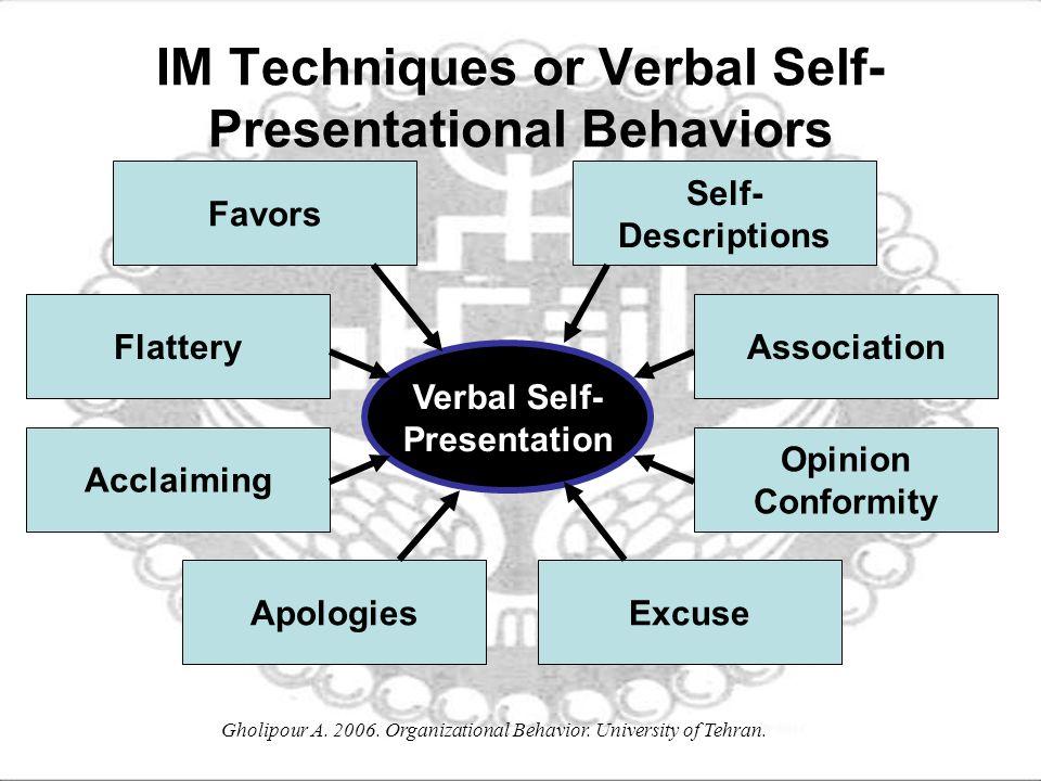 IM Techniques or Verbal Self-Presentational Behaviors