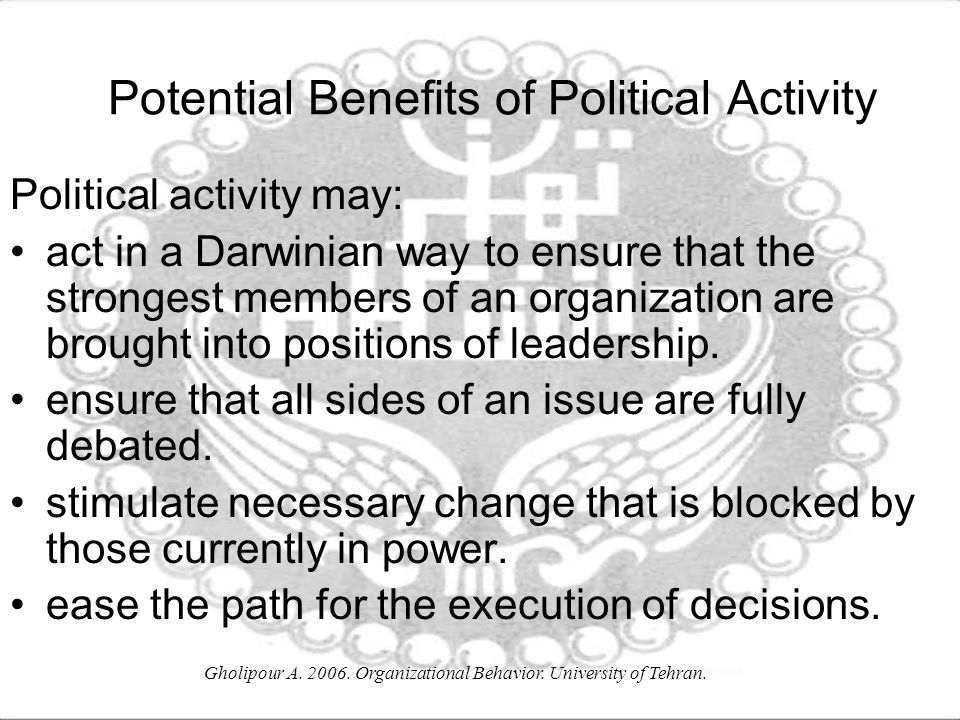 Potential Benefits of Political Activity