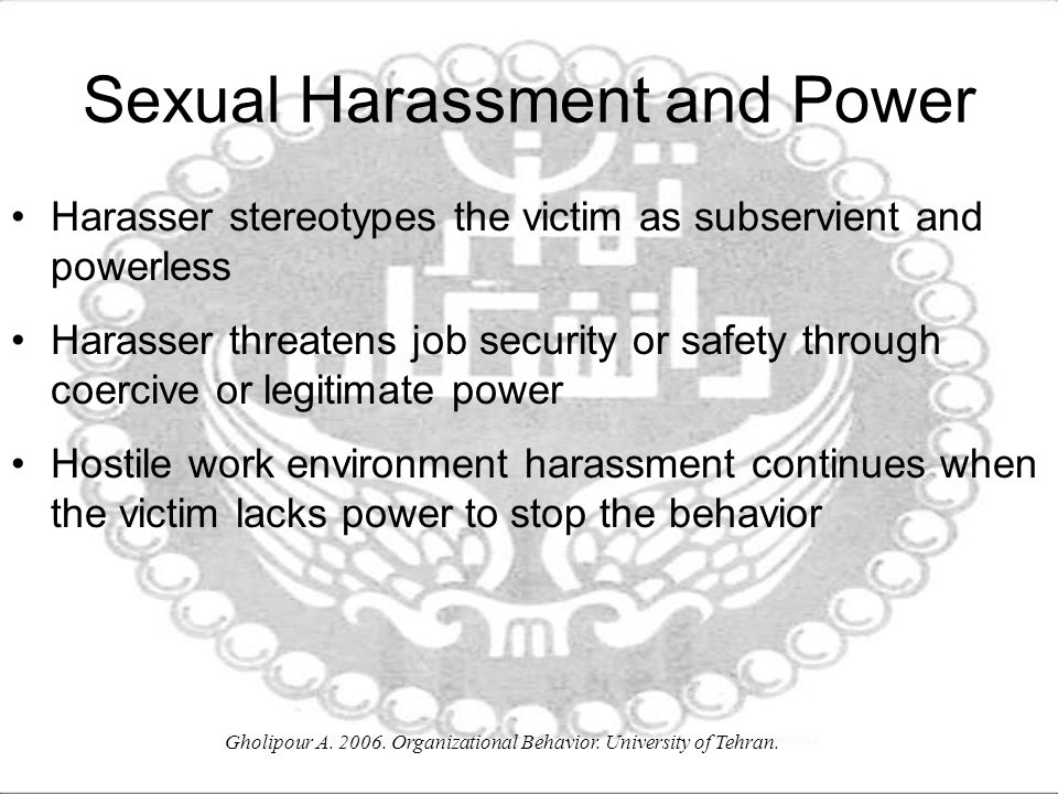 Sexual Harassment and Power