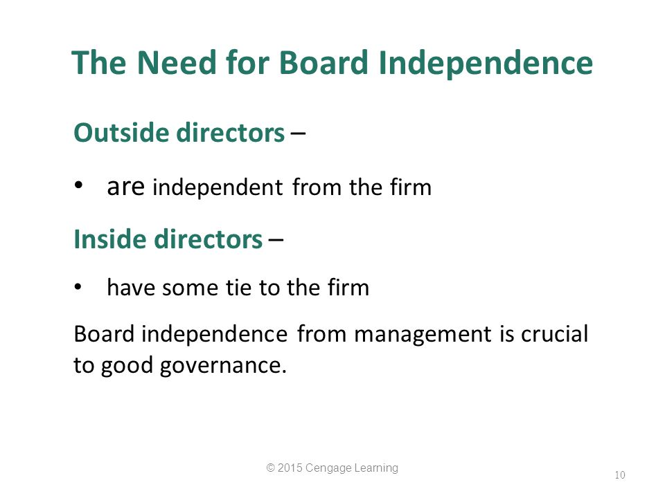 The Need for Board Independence