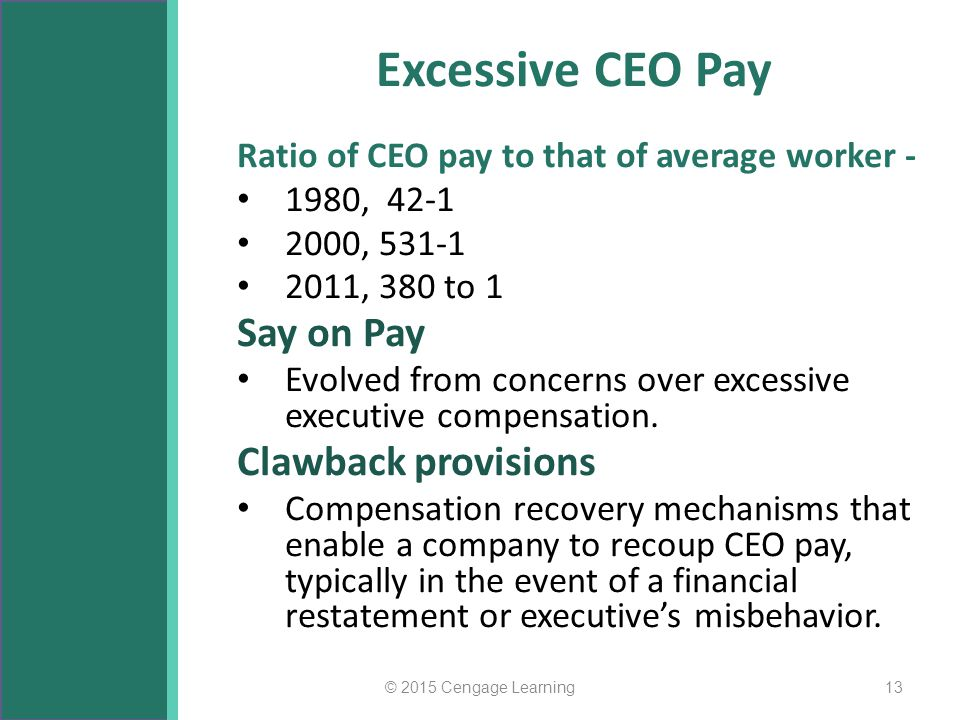 Excessive CEO Pay Say on Pay Clawback provisions