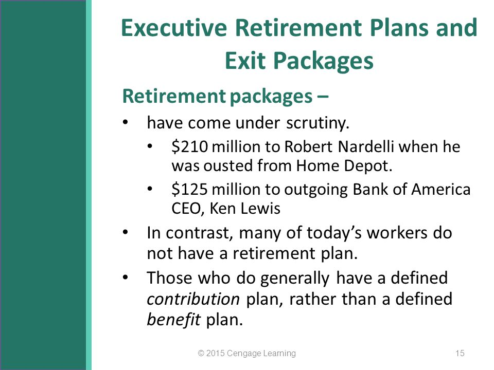 Executive Retirement Plans and Exit Packages