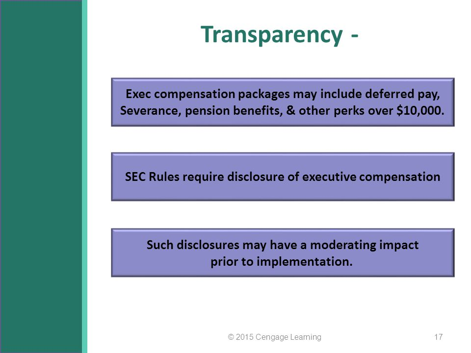 Transparency - Exec compensation packages may include deferred pay,