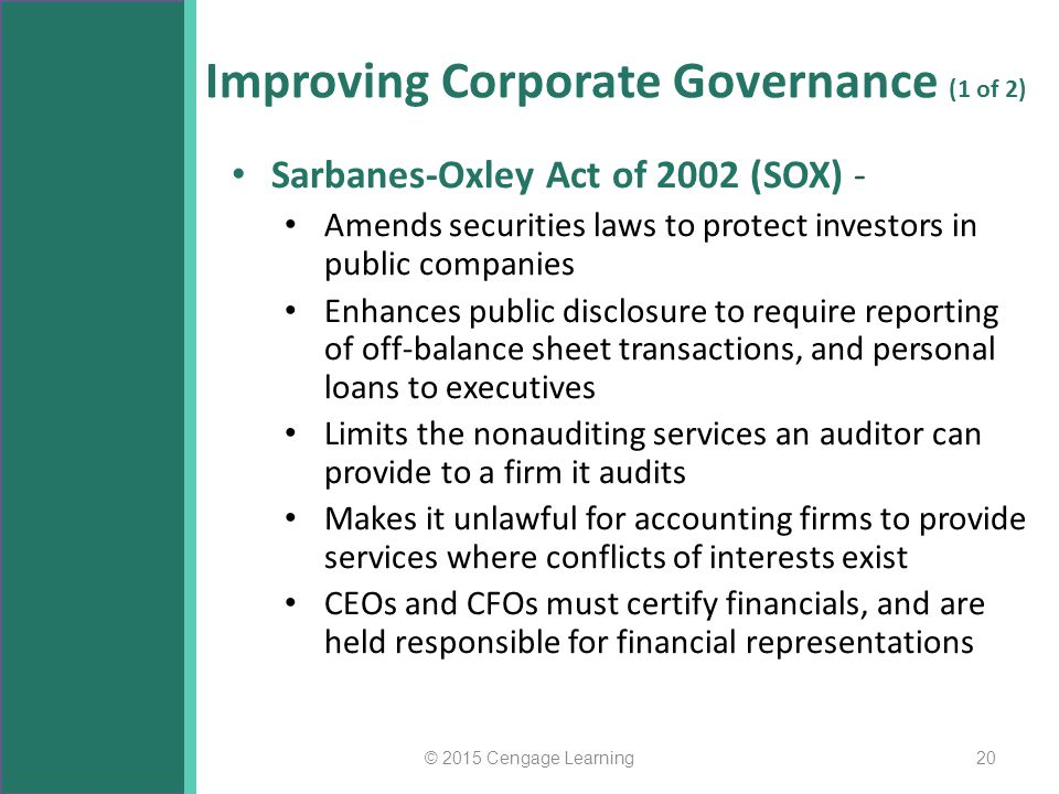 Improving Corporate Governance (1 of 2)