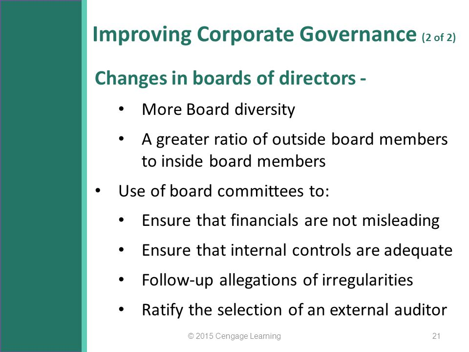 Improving Corporate Governance (2 of 2)