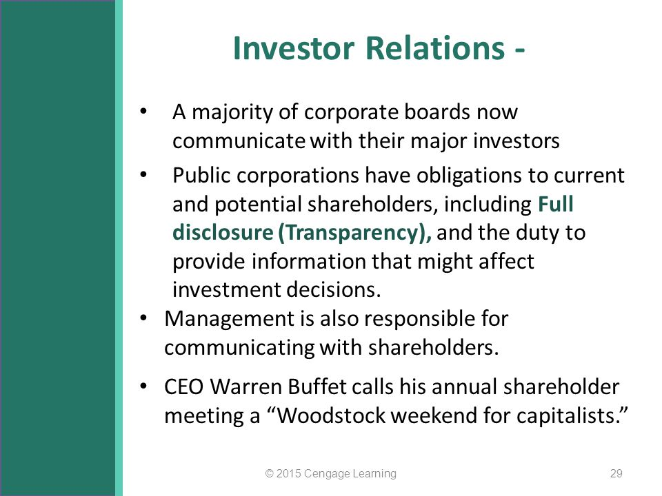 Investor Relations - A majority of corporate boards now communicate with their major investors.