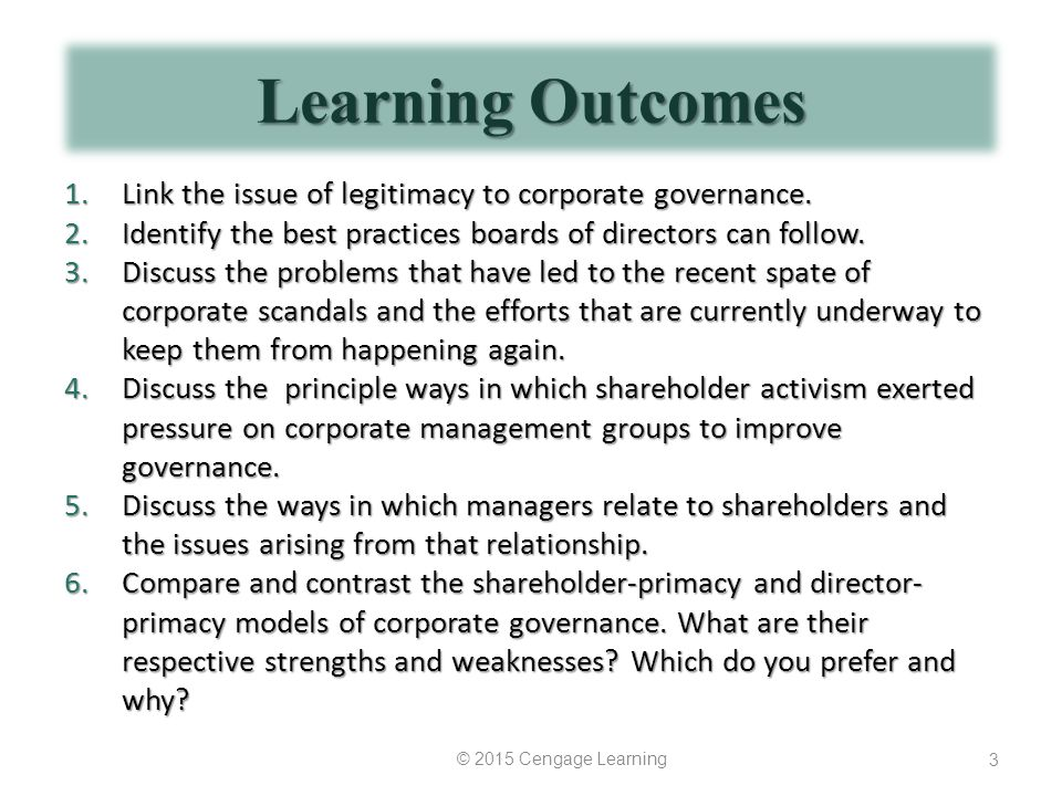 Learning Outcomes Link the issue of legitimacy to corporate governance. Identify the best practices boards of directors can follow.