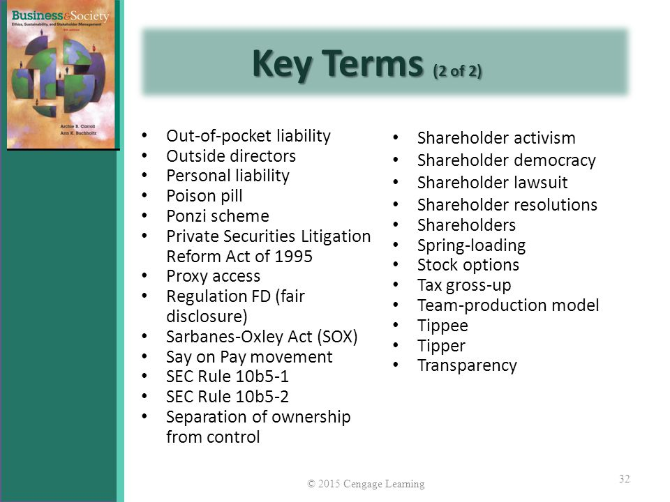 Key Terms (2 of 2) Out-of-pocket liability Outside directors
