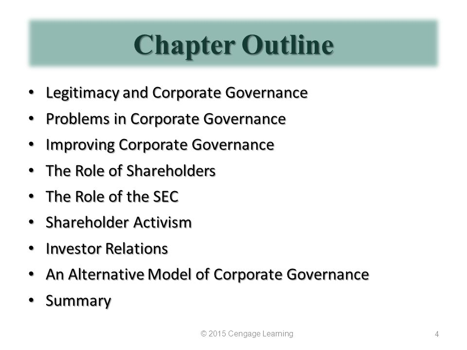 Chapter Outline Legitimacy and Corporate Governance