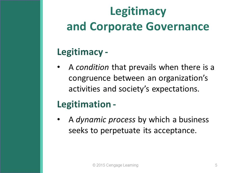 Legitimacy and Corporate Governance