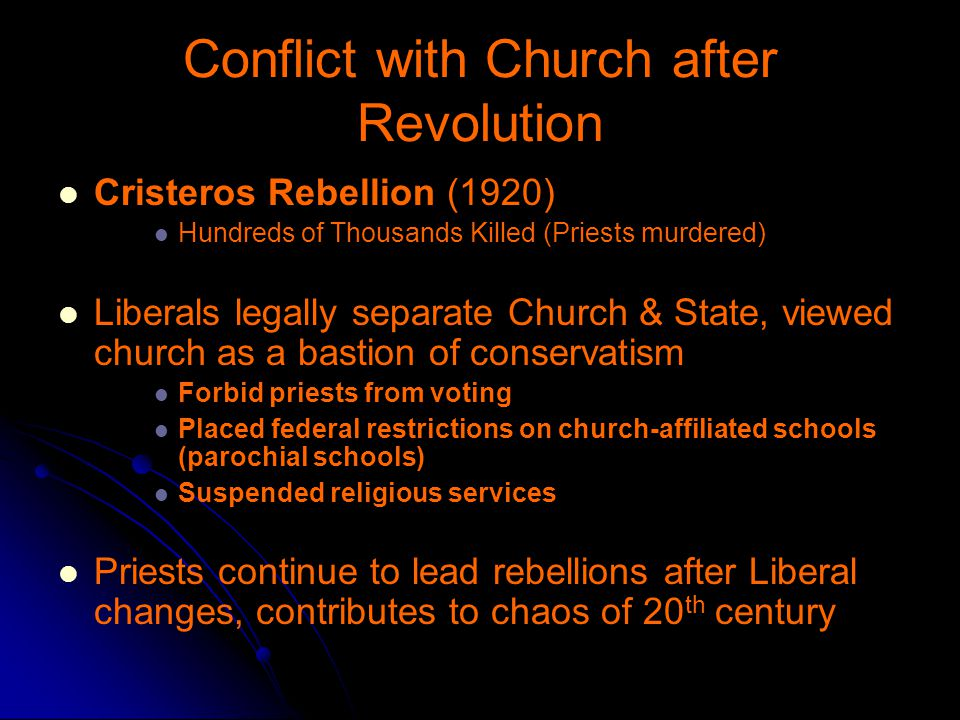 Conflict with Church after Revolution