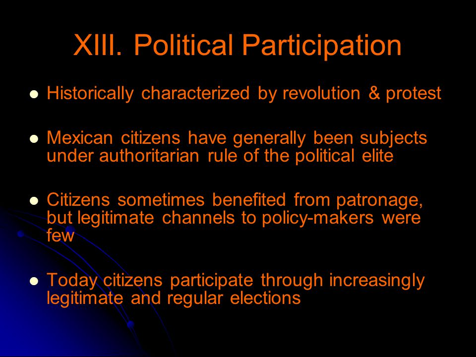 XIII. Political Participation