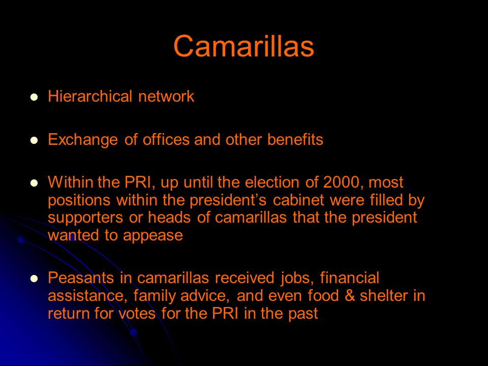 Camarillas Hierarchical network Exchange of offices and other benefits