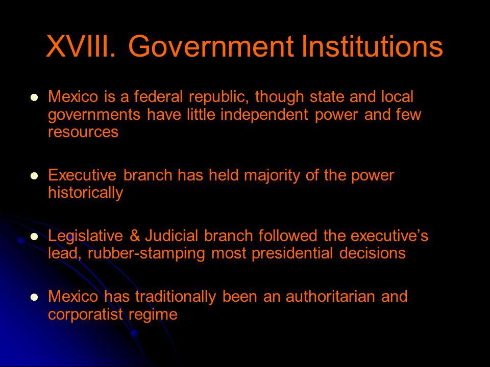 XVIII. Government Institutions