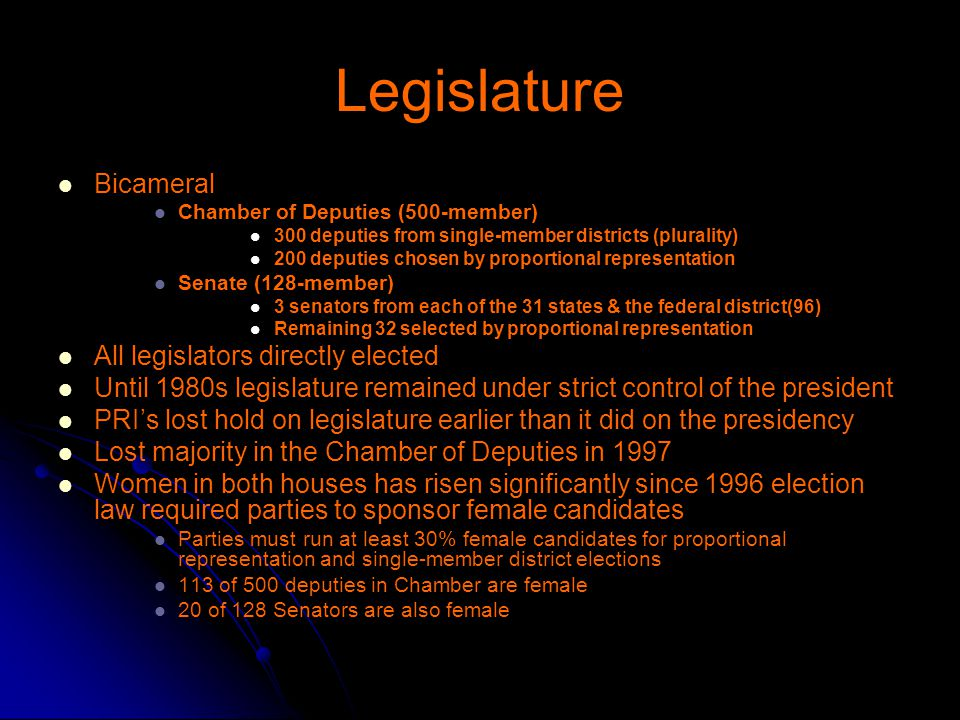 Legislature Bicameral All legislators directly elected