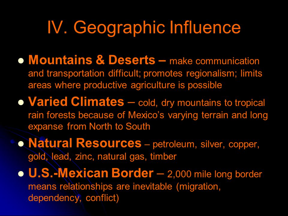 IV. Geographic Influence