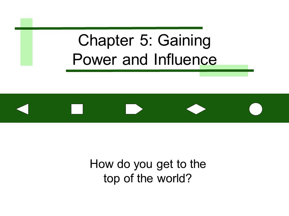 Chapter 5: Gaining Power and Influence