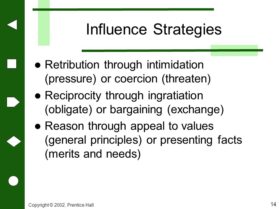 Influence Strategies Retribution through intimidation (pressure) or coercion (threaten)