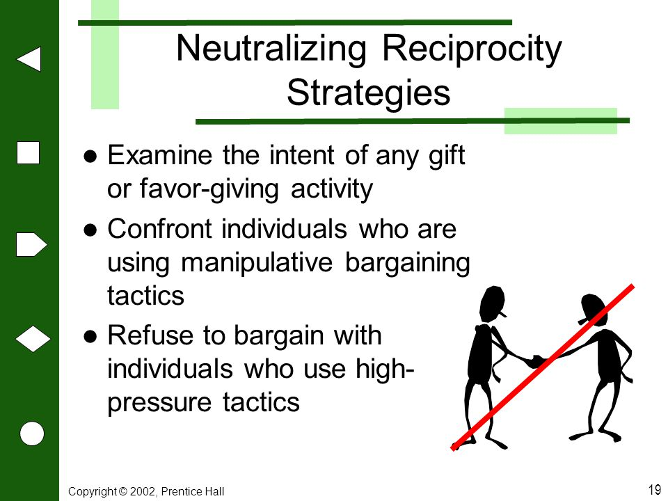 Neutralizing Reciprocity Strategies
