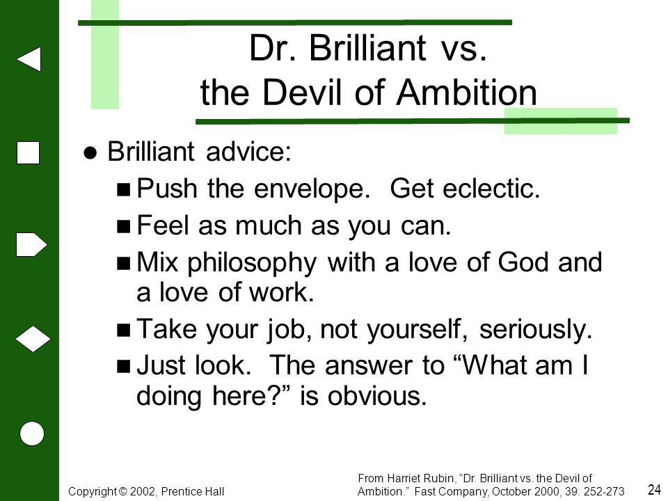 Dr. Brilliant vs. the Devil of Ambition