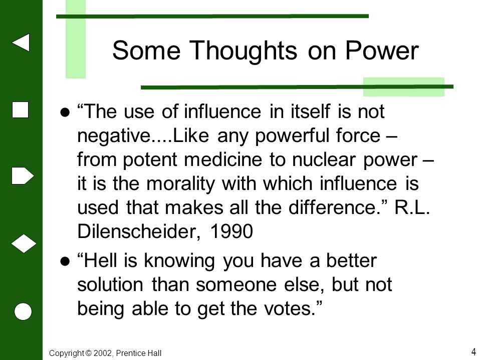 Some Thoughts on Power
