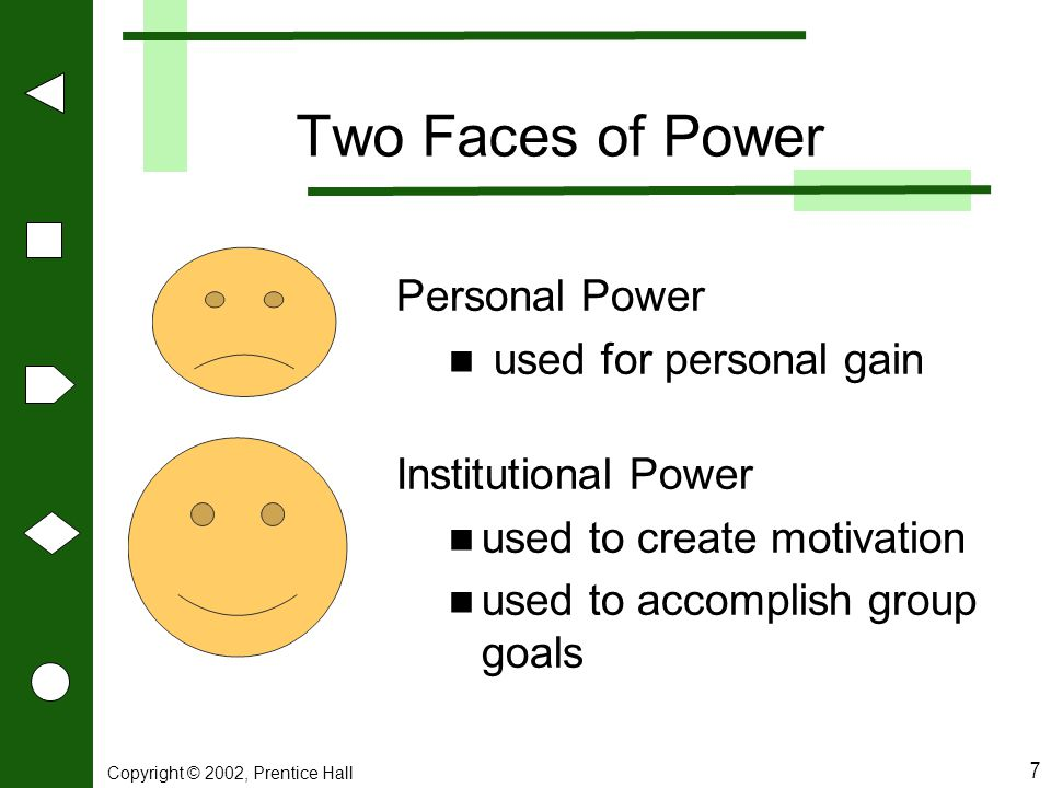 Two Faces of Power Personal Power used for personal gain