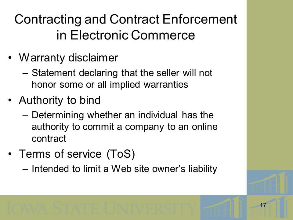 Contracting and Contract Enforcement in Electronic Commerce