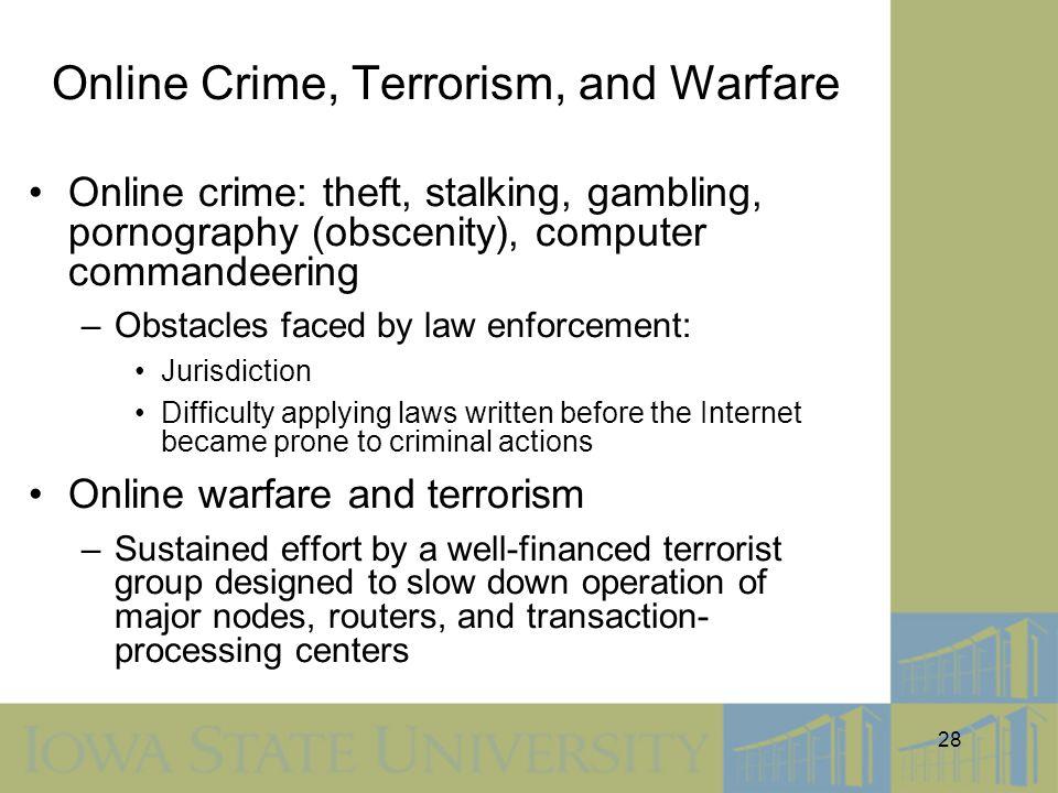 Online Crime, Terrorism, and Warfare