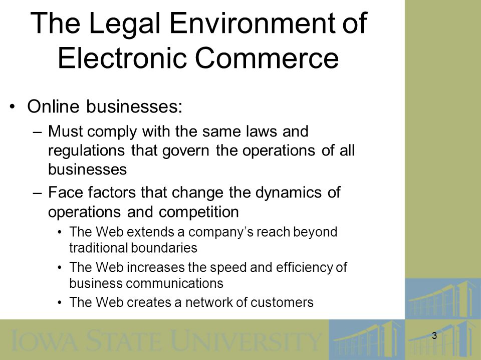 The Legal Environment of Electronic Commerce