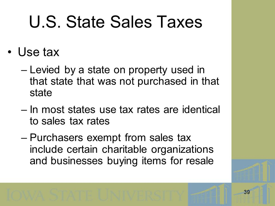 U.S. State Sales Taxes Use tax