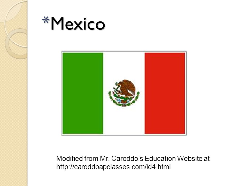 Mexico Modified from Mr. Caroddo's Education Website at http://caroddoapclasses.com/id4.html