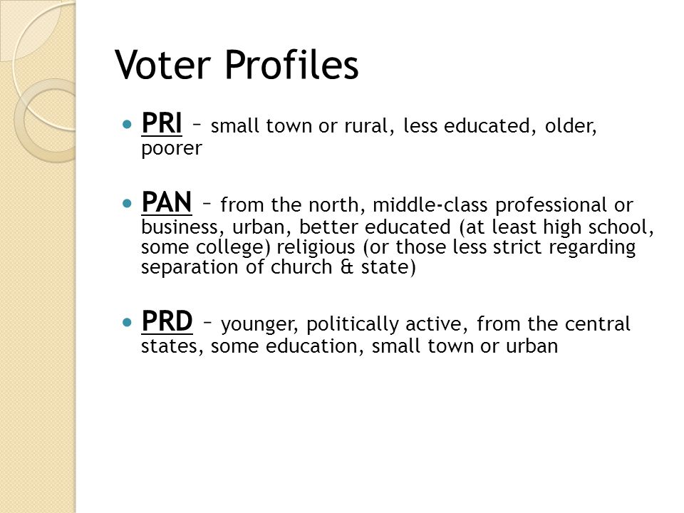 Voter Profiles PRI – small town or rural, less educated, older, poorer
