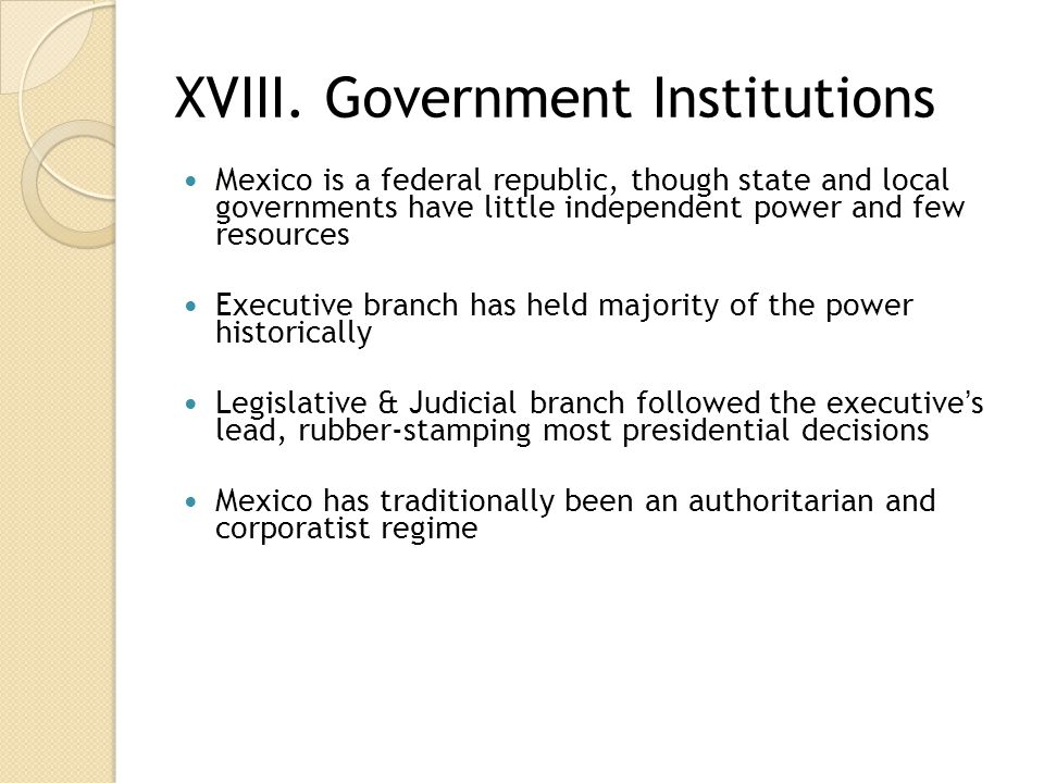 XVIII. Government Institutions