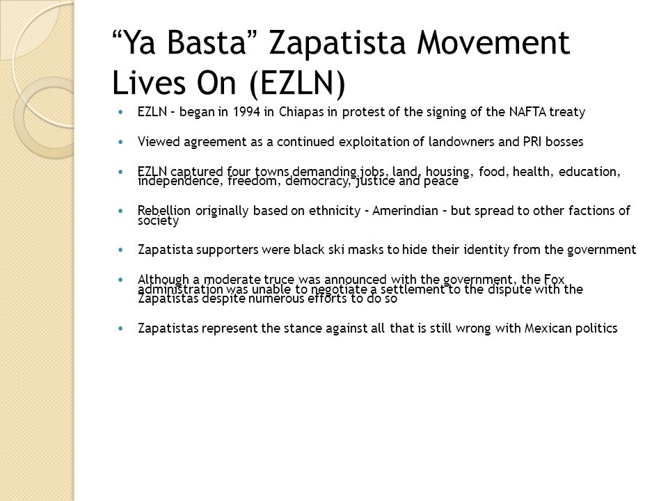 Ya Basta Zapatista Movement Lives On (EZLN)