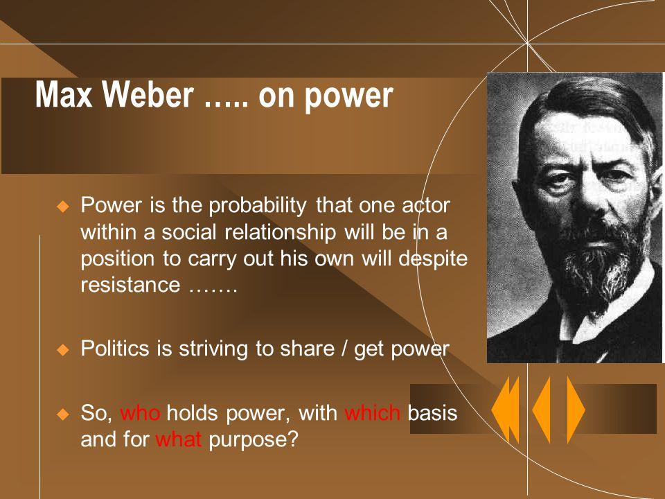 Max Weber ….. on power