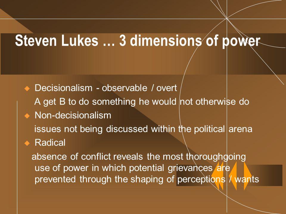 Steven Lukes … 3 dimensions of power