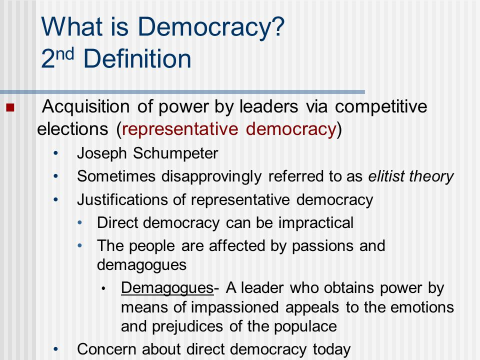 What is Democracy 2nd Definition