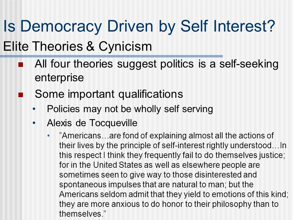 Is Democracy Driven by Self Interest