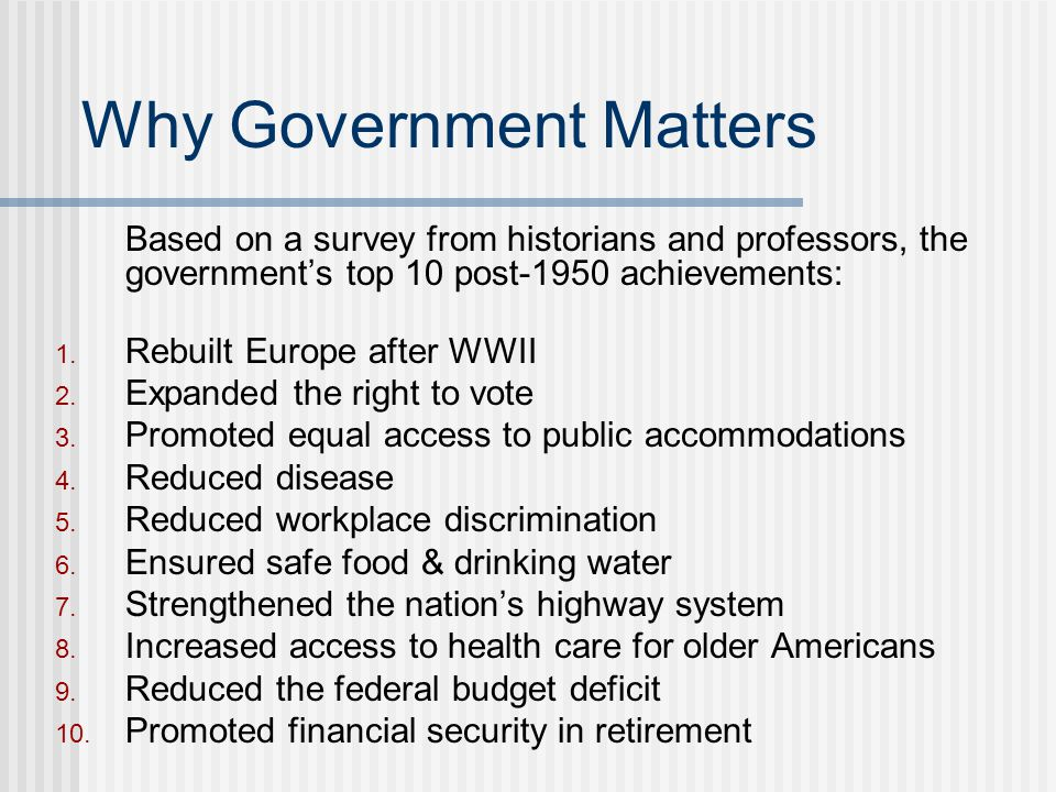 Why Government Matters