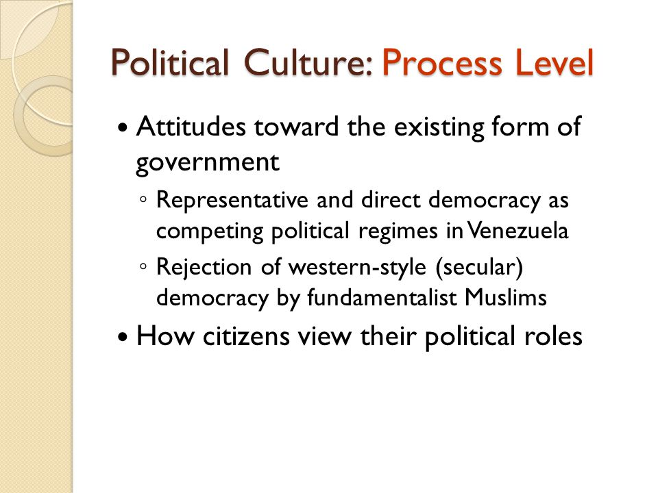 Political Culture: Process Level