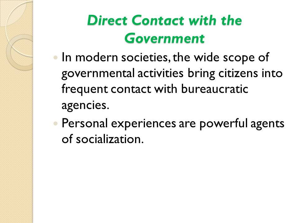 Direct Contact with the Government