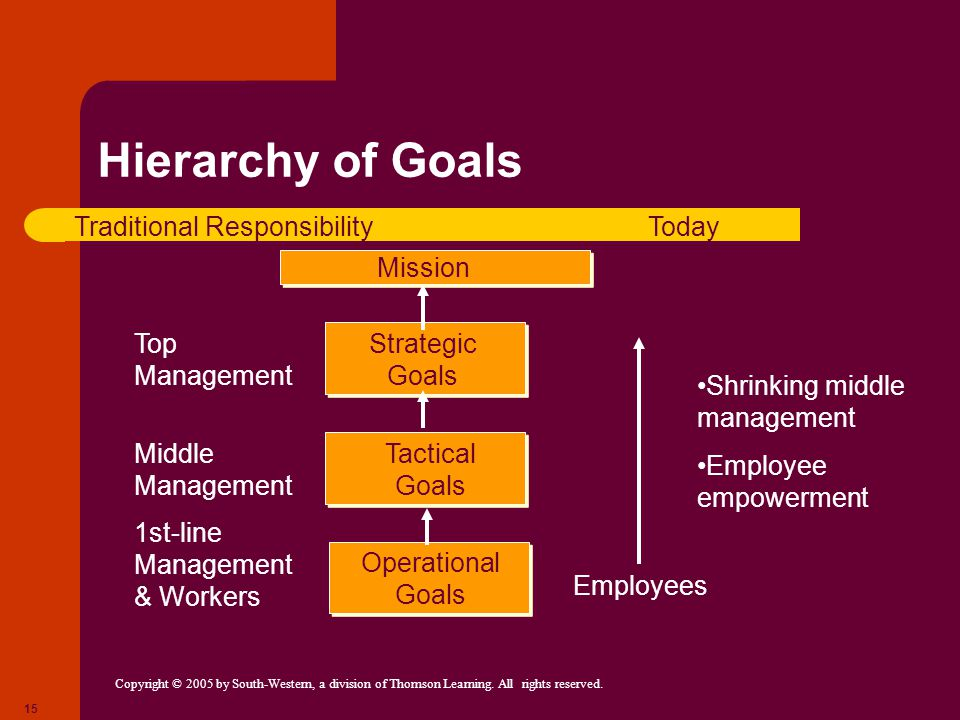 Hierarchy of Goals Traditional Responsibility Today Mission