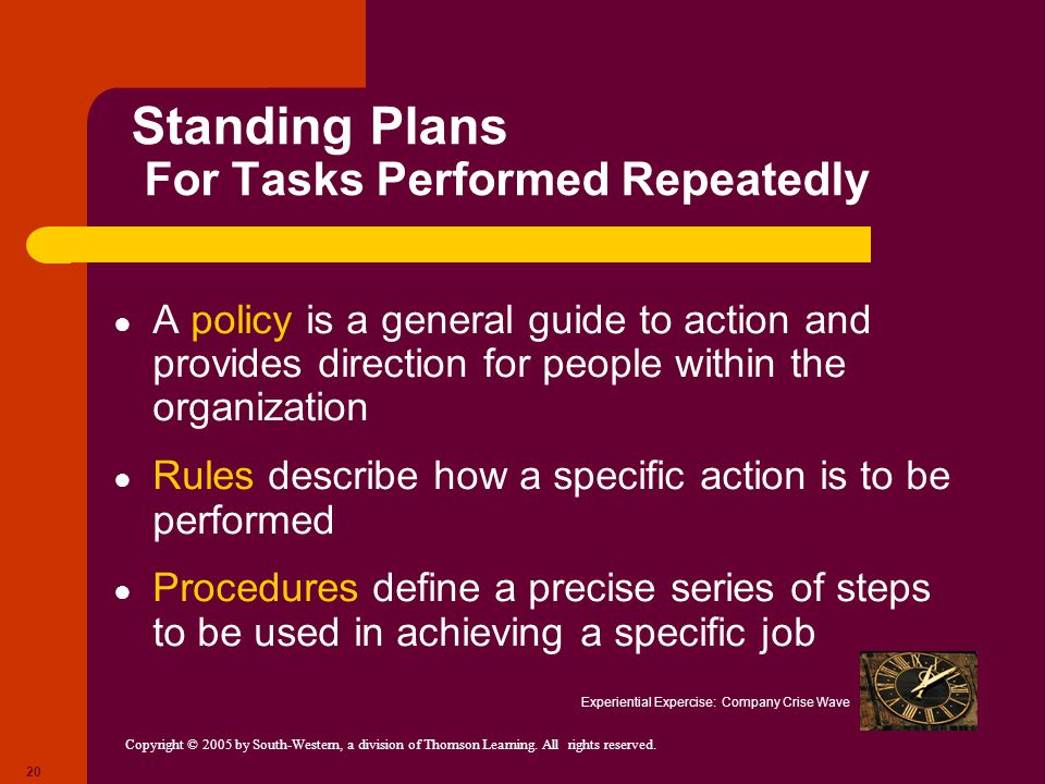 Standing Plans For Tasks Performed Repeatedly