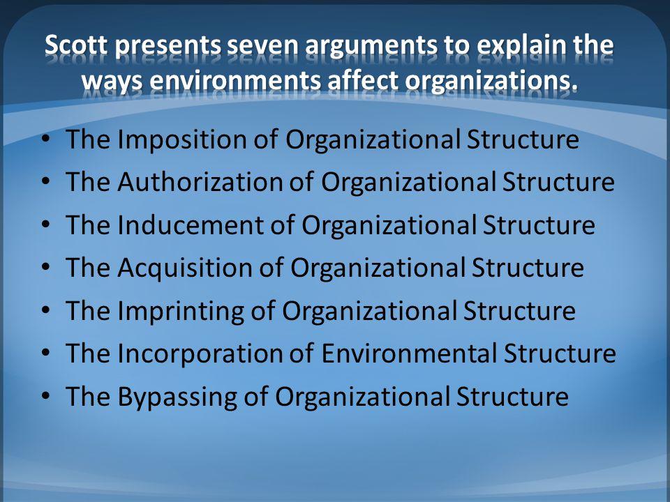 Scott presents seven arguments to explain the ways environments affect organizations.