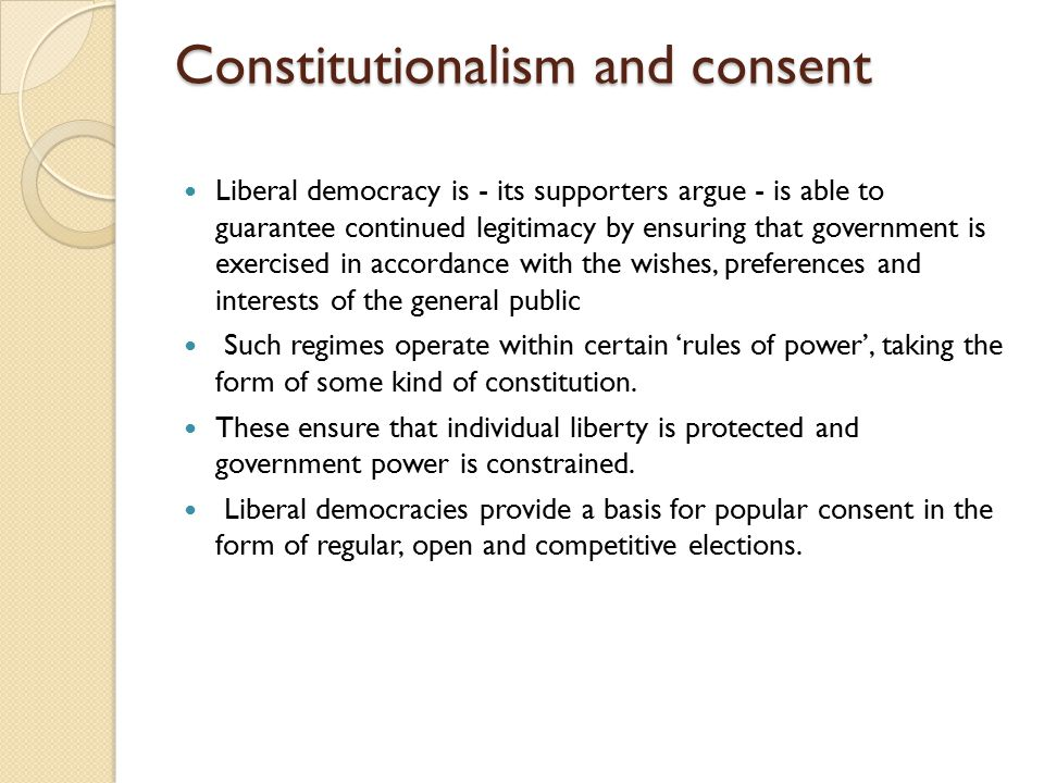 Constitutionalism and consent