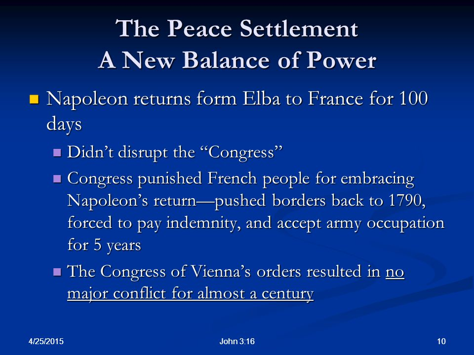 The Peace Settlement A New Balance of Power