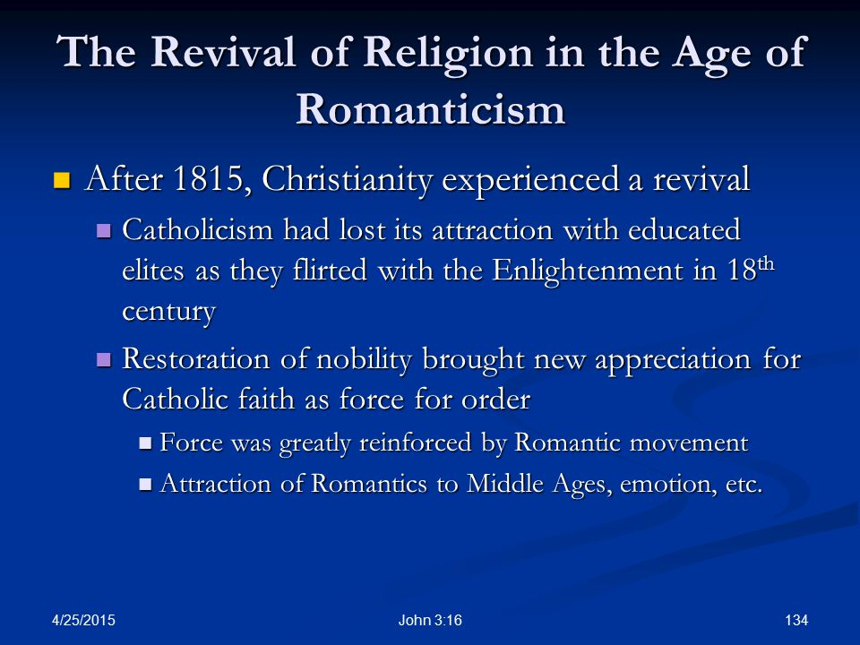 The Revival of Religion in the Age of Romanticism
