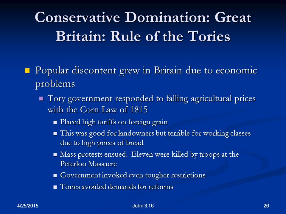 Conservative Domination: Great Britain: Rule of the Tories