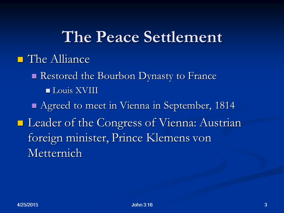 The Peace Settlement The Alliance